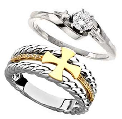 cross and christian wedding engagement bands and