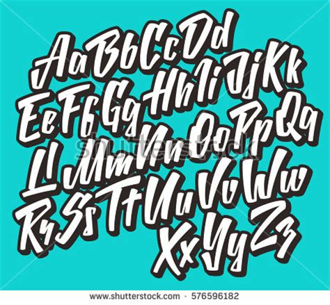 vectorial design font handwritten lettering font vector comic alphabet stock