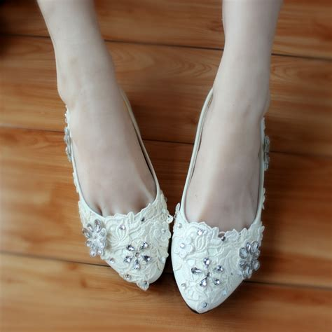 flat bridal shoes with bling 2015 handmade flat heel wedding shoes white