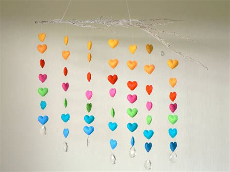 hanging felt heart mobile by lullaby mobiles modern