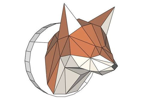 Papercraft Fox - fox wall hanging sculpture free papercraft