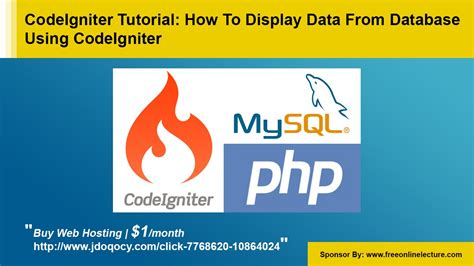 codeigniter orm tutorial codeigniter tutorial how to display data from database