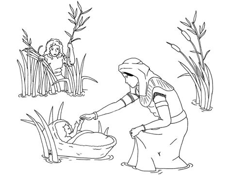 Baby Moses Coloring Pages free printable moses coloring pages for
