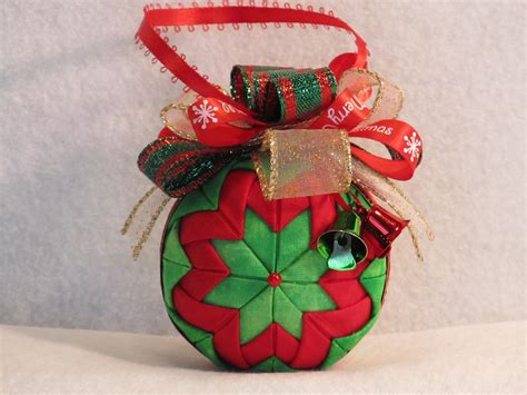 quilted no sew fabric christmas ornament ball classic red