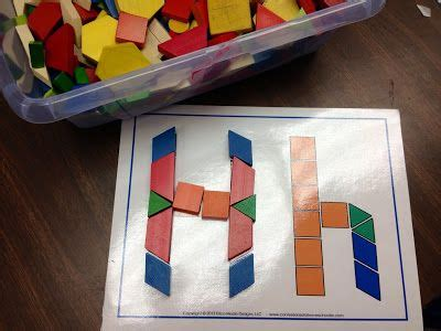 pattern centres for kindergarten students use the pattern blocks to build letters go http