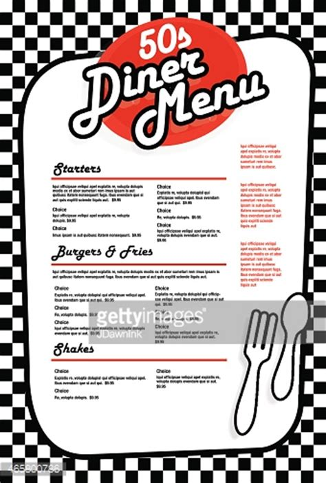 vector art late night retro 50s diner menu layout hot