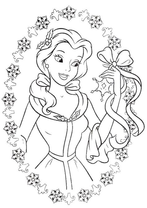 princess belle love to get gifts in christmas day coloring
