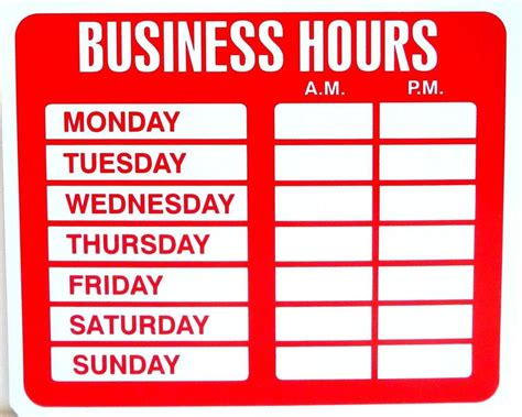 business hours sign template business closed sign template closed sign template