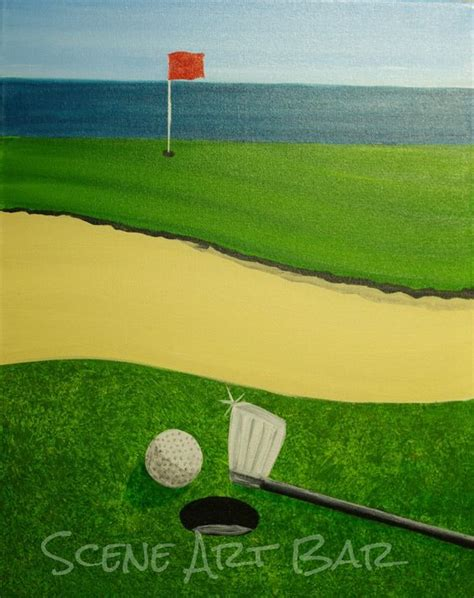 step by step acrylic painting of golf course step by step acrylic paintings scene art bar