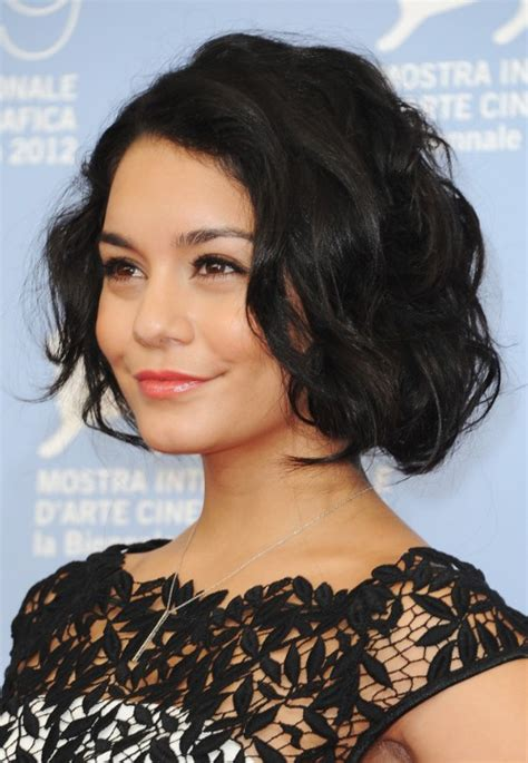 bobs for wavy hair vanessa hudgens latest haircut short black wavy bob cut
