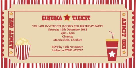 cineplex queensway birthday party cinema party ticket invite clip art pinterest