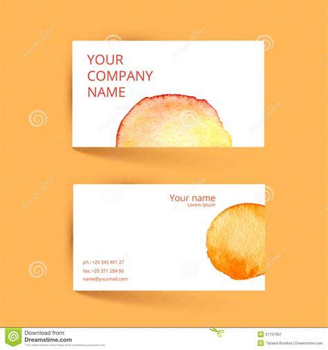 id card design pdf file business card template vector watercolor orange stock
