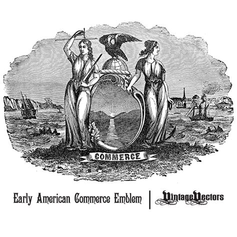 Early Commerce vector early american emblem engraving representing commerce vintage vectors