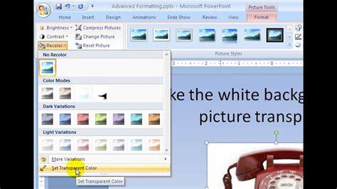 set transparent color powerpoint 2007 lesson 2 set the transparent color of a