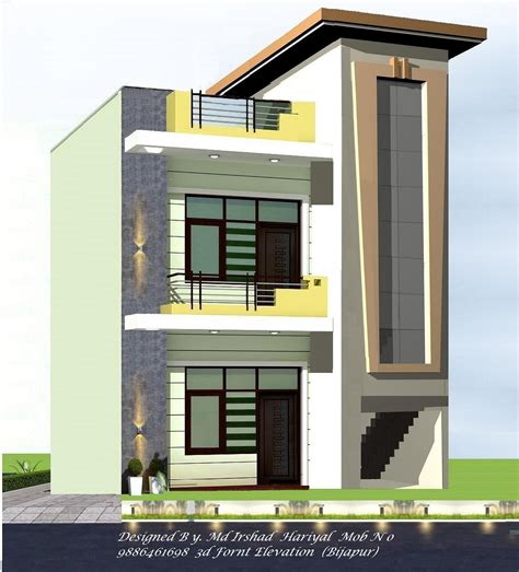 Home Design 3d 2bhk by 3d Fornt Elevation Gharexpert