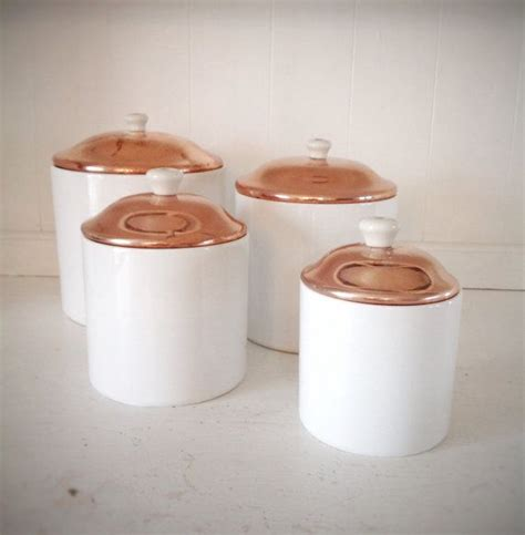 vintage white canister set copper lid copper lid canisters