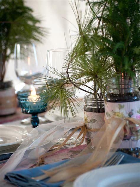 evergreen wedding favors  table settings