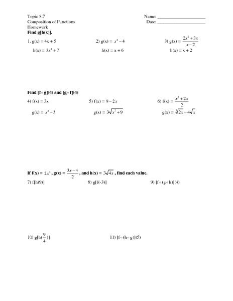 Composite Functions Worksheet With Answers by Function Composition Worksheet Lesupercoin Printables