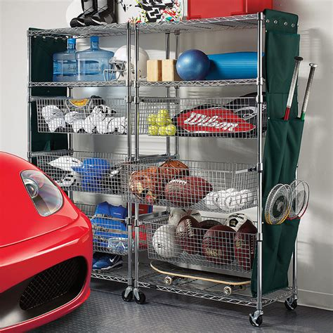 garage organization bins metallic finished sports shelving with pull out bins