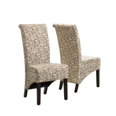 Fabric Parson Dining Chairs Fabric Parson Dining Chair In Swirl Set Of 2 I1789tn