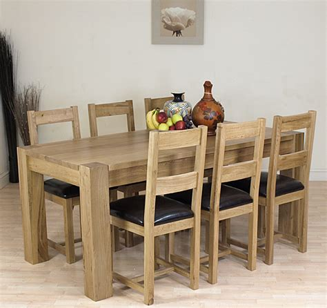 Kuba Solid Oak Dining Table And 6 Oak Chairs Furniture Ebay Oak Dining Table And Chairs Ebay