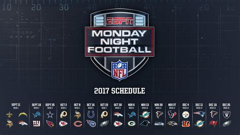 printable nfl monday night football schedule 2015 the 2017 monday night football schedule is here