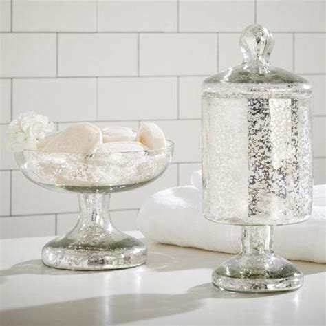 Mercury Glass Bathroom Accessories Etched Mercury Glass Bath Accessories Pottery Barn
