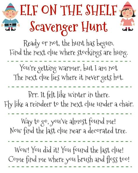 printable elf   shelf scavenger hunt elf