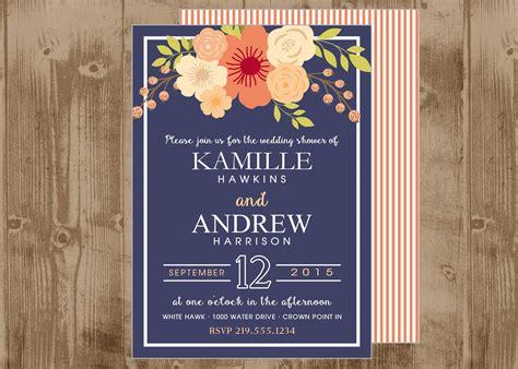 free printable wedding invitations navy printable wedding bridal shower invitation in navy and