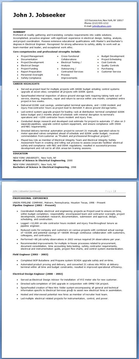 electrical engineer resume sle doc experienced