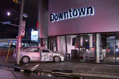 porsche dealership inside car crashes into porsche dealership citynews toronto