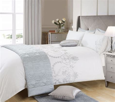 stylish bed linen white grey silver colour stylish embroidered duvet cover