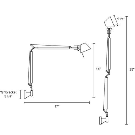 artemide tolomeo wall l artemide tolomeo micro wall l with arms stardust