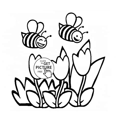 coloring pages of flowers and bees flowers and bees coloring page for flower