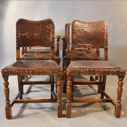 Antique Leather Dining Chairs Antique Set 6 Six Oak Leather Dining Chairs Inc Antiques Atlas