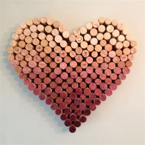 Heart Shaped Vase With Cork Ombre Wine Cork Heart