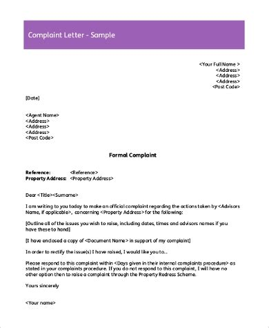 sample complaint letters ms word