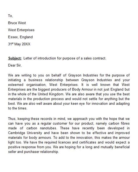 Introduction Letter For New Business Sle Sle Introduction Letter For A New Business Build