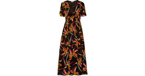 Fendi Paradise 1 Fendi Bird Of Paradise Print Silk Midi Dress In Black Lyst