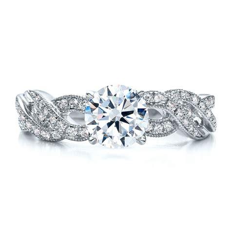 braided pave engagement ring vanna k 100070