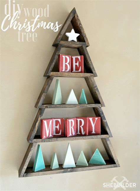 christmas woodworking ideas diy wood tree shelf with free plans tinsel wheat
