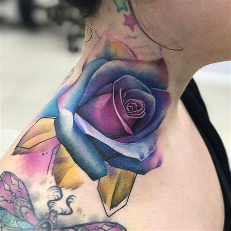 neck rose tattoo best tattoo design ideas