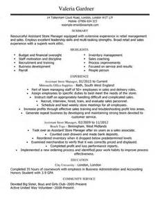 Resume For Retail Assistant Manager by Assistant Store Manager Cv Exle For Retail Livecareer