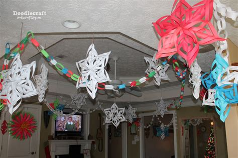 deck the halls with paper 3d snowflakes paper chains