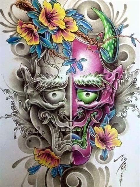 japanese hannya tattoo designs 372 best hannya mask images on ideas