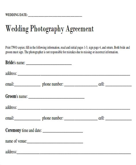 photography agreement contract sle wedding contract agreements 9 exles in word pdf