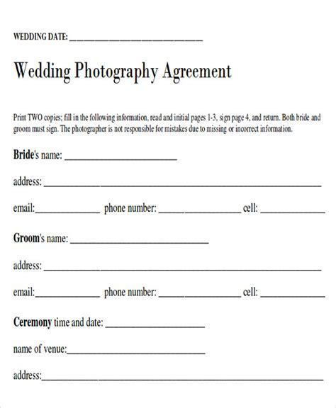 Sample Wedding Contract Agreements   9  Examples in Word, PDF