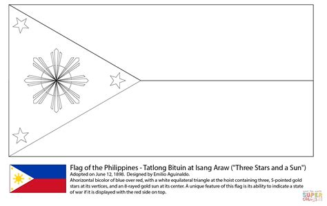 Flag Of Philippines To Color Pictures To Pin On Pinterest Philippines Flag Coloring Page