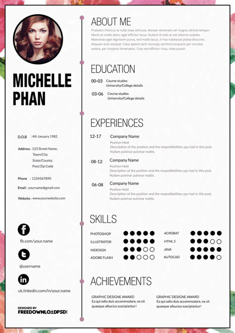 Resume Layout Templates by Designer Cv Template Free Psd Freedownloadpsd