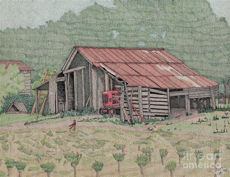 The Tractor Barn the tractor barn drawing by calvert koerber